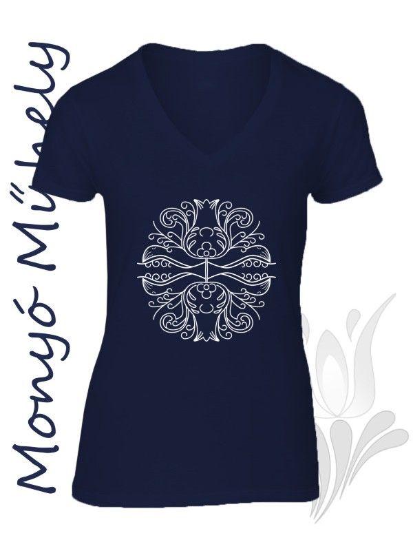 Mezőcsáti mintás női póló - kék