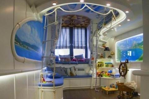 Интерьер детской комнаты в морском стиле