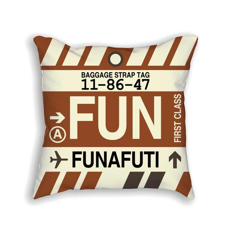 FUN Funafuti Airport Code Baggage Tag Pillow