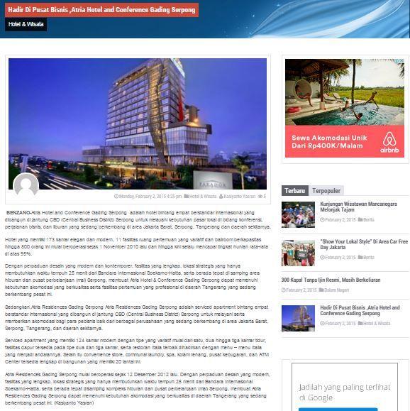 Hadir di Pusat Bisnis, Atria Hotel and Conference Gading Serpong - 2 February 2015 http://benzano.com/gaya-hidup/hotel-wisata/hadir-di-pusat-bisnis-atria-hotel-and-conference-gading-serpong/
