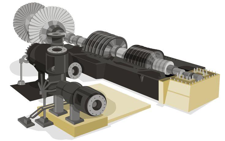 Turbina de vapor de una central térmica de ciclo combinado http://www.endesaeduca.com/Endesa_educa/recursos-interactivos/produccion-de-electricidad/ix.-las-centrales-termicas-de-ciclo-combinado