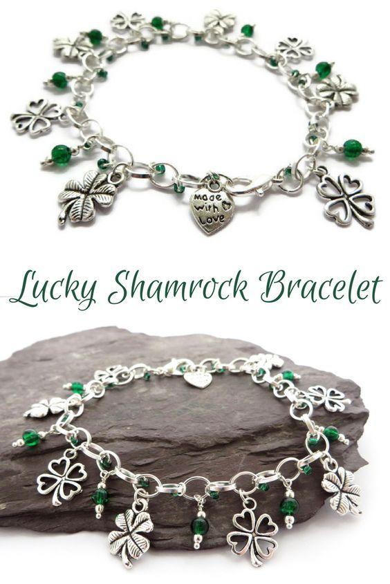 Emerald green shamrock bracelet - St Patrick's day jewellery - Handmade gift for her: