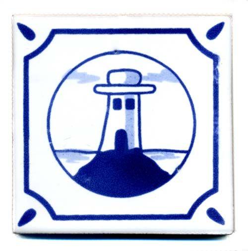 Handbemalte Fliese 10x10 - Friese Leuchtturm kaufen im Mexiko-Fliesen Shop.