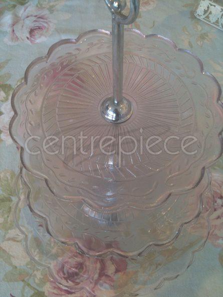 Cupcake Stand Pressed Glass Pink