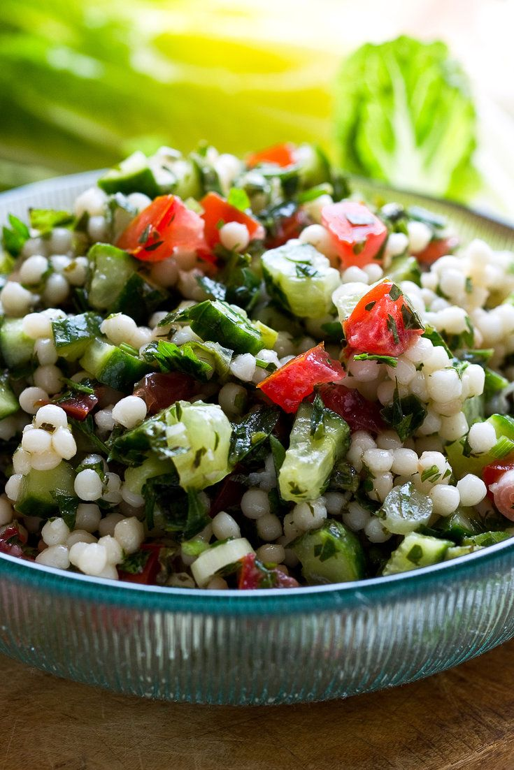 NYT Cooking: I love this tabbouleh-like mixture because of all the herbs and refreshing flavors, and also because of the nice contrast in textures. Make sure that you cook the couscous until the spheres are tender but not gummy. I have seen package directions that call for too little water