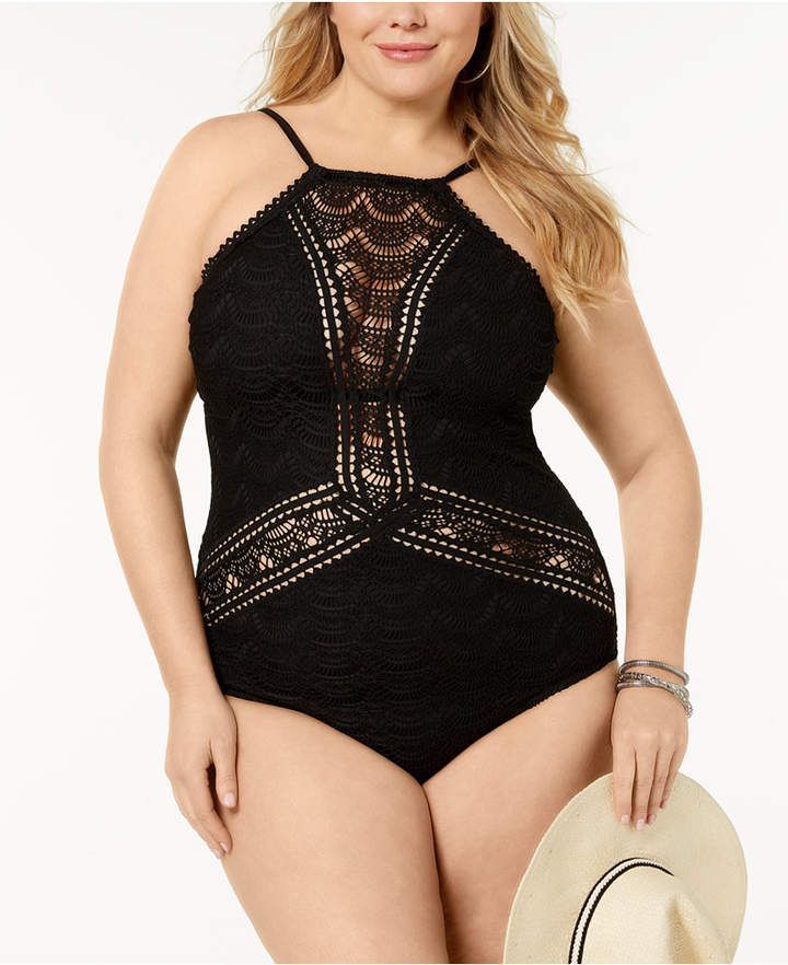 140cfe9c6e446 Becca ETC Plus Size Colorplay High-Neck Crocheted One-Piece Swimsuit ...