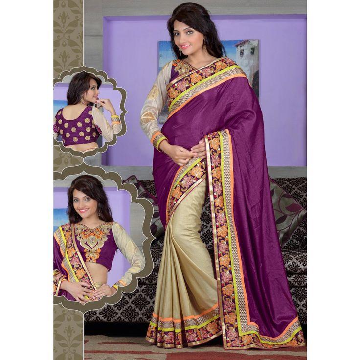 Magenta Georgette Designer #Saree With Blouse- $62.05