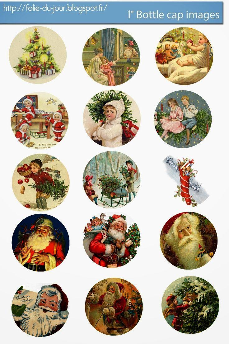 Free Bottle Cap Images: Vintage Christmas Santa Claus free bottle cap template