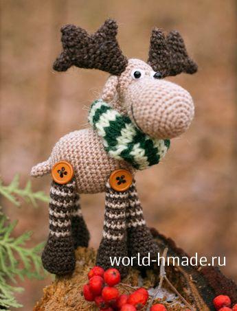 Новогодний лось Степан крючком. Описание вязания и пошаговые фото.