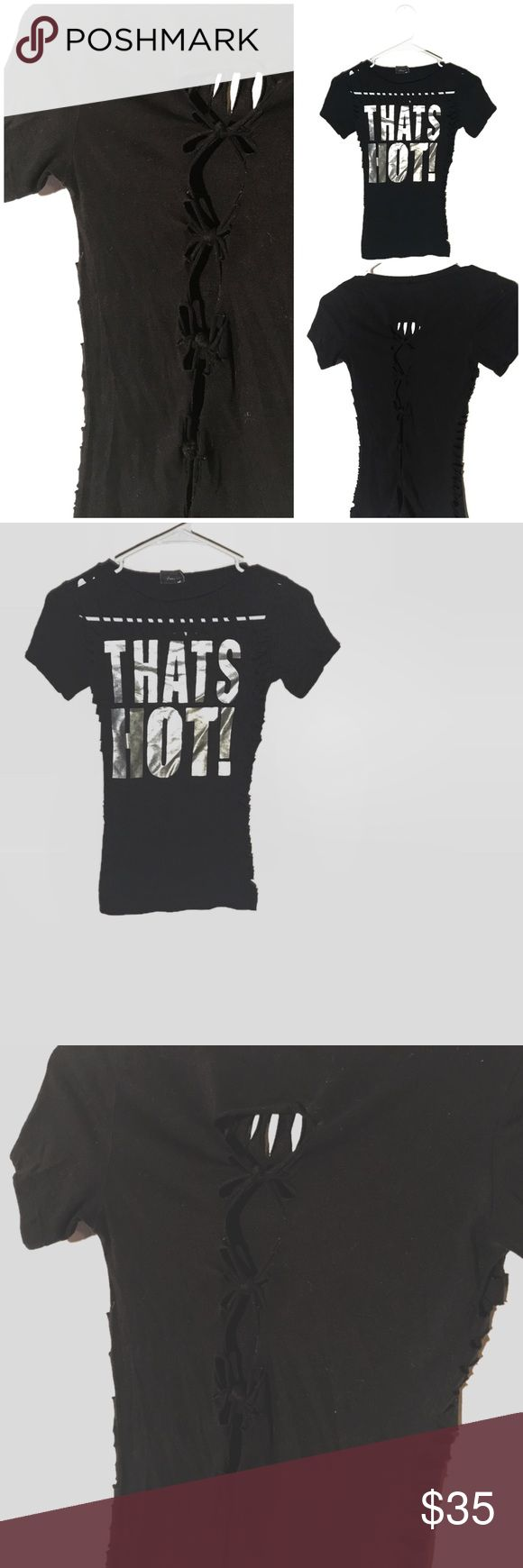 """✂️ Cut up tied stretchy THAT'S HOT graphic tee Totally cut up this stretchy """"that's hot"""" graphic tshirt. Writing is metallic. Has sliced and cuts all over. Back is cut up and retied into a different design. This shirt is Stretchy cotton. Looks far better on than on his hanger! Size small/medium.  #tumblr #thatshot #parishilton #graphictee #stretchy #black #metallic #cutup #sliced #shredded #revamped #redone #reworked #shirtdesign #cutup #cutupshirt #revampdlife #danamariedior reVamp'D Tops…"""