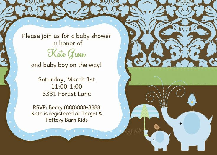 Baby Boy Shower Invitation, Elephant Baby Shower Invitation, Cute Baby Boy Shower  Invitation, Blue And Brown, Printable Baby Shower