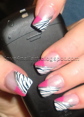 Hot Pink & Zebra Nails ~ Love4NailArt  http://love4nailart.blogspot.com/2011/12/hot-pink-zebra-nails.html