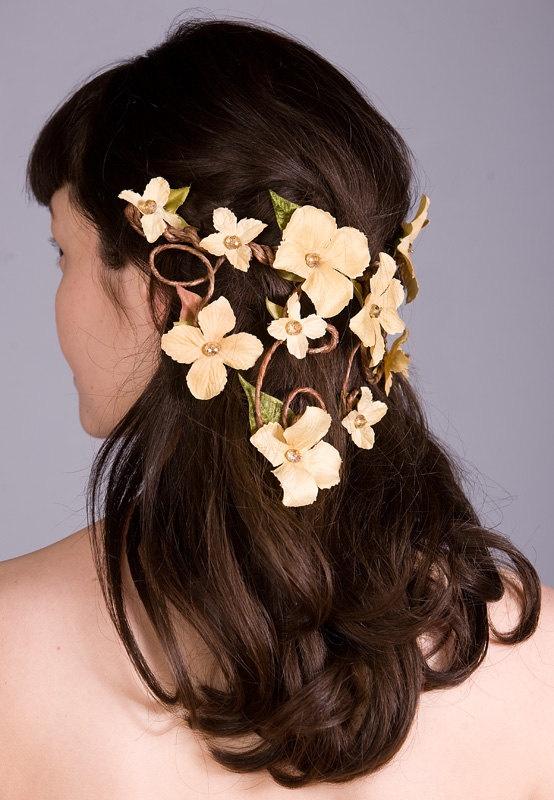 Floral Crown Head Piece - Cascading Veil of Golden Yellow Flowers - Woodland Wedding, Summer Festivals, Forest Nymph