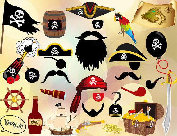 Instant Download: Pirate Party Photo Booth Props Printable Pirate Photobooth Prop Birthday Party DIY 0020