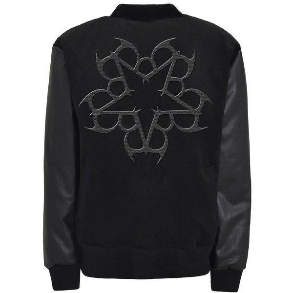 Black Veil Brides Class Black on Black Letterman Jacket (7.110 RUB) ❤ liked on Polyvore featuring outerwear, jackets, tops, black veil brides, bvb, college jacket, varsity style jacket, varsity bomber jacket, letterman jackets and bridal jacket