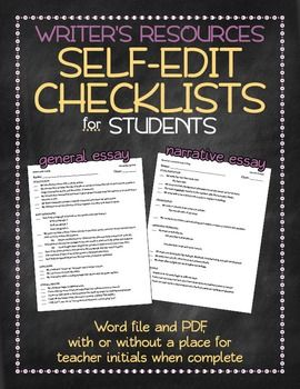 "These self-edit checklists help students know what to look for when editing their essays. Although sometimes students will simply go through and check the spots, when I come around to see their progress, it gives me several things to recommend that the student look back at, knowing that they ""already edited for"