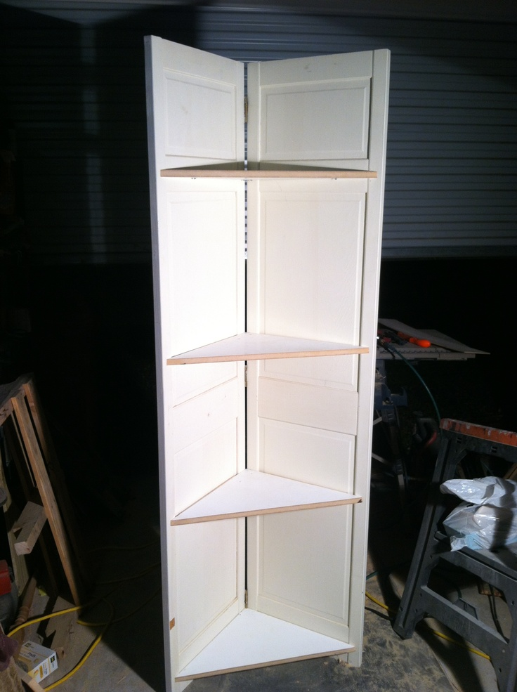 This Is A Simple Corner Cabinet A Set Of Older Bifold Doors Just Added The Shelves Old