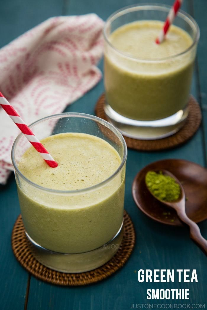 Green Tea Smoothie - try adding cacao nibs if making this smoothie for breakfast.  The chocolate will provide additional energy and mood elevating nutrients.