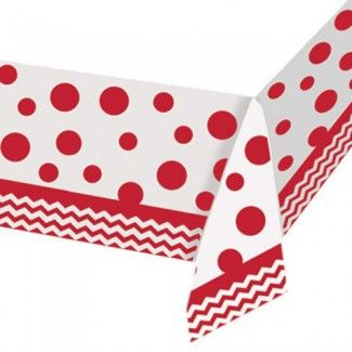 Chevron Party Tableware, Classic Red Chevron Tablecovers