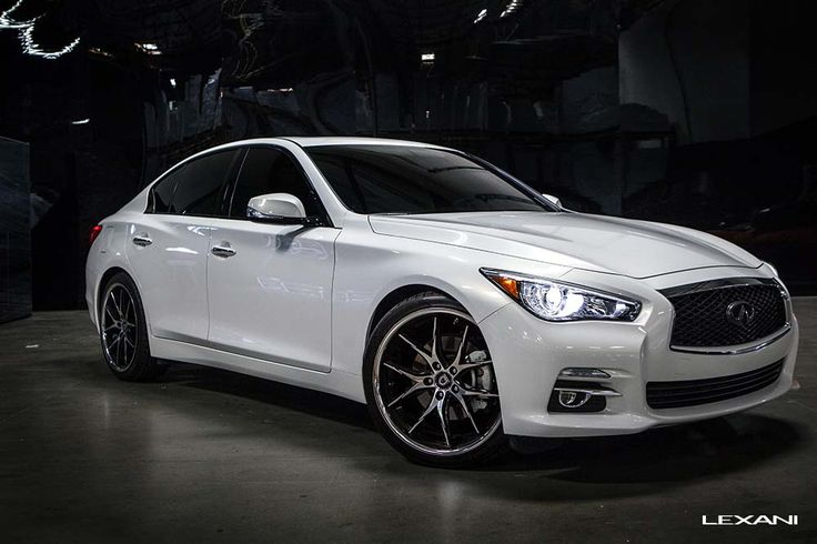 Lexani Wheels R-Twelve in Machined Black with Chrome Stainless Lip on an Infiniti Q50. http://www.americanwheelandtire.com/houston-wheels/Lexani/