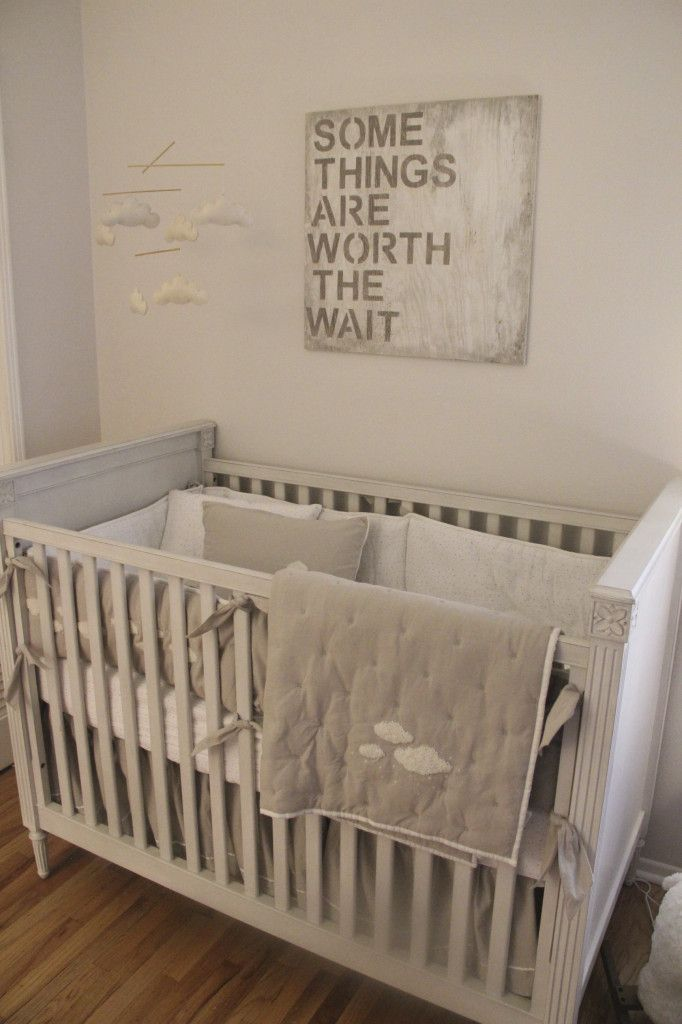 """Worth the Wait"" Wall Decor - such a simple, chic look in this gender neutral nursery!"