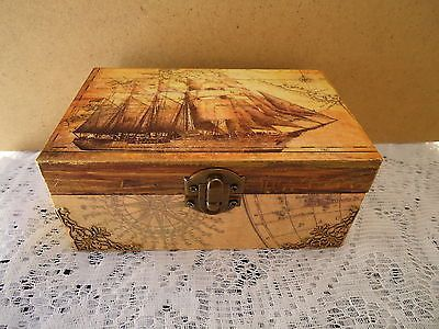283 best boxes images on pinterest tags diy christmas wood decoupage handmade trinketjewelry box antique old world map vintage ship gumiabroncs Image collections
