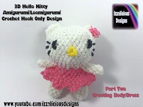 Rainbow Loom 3D Hello Kitty Amigurumi/Loomigurumi Body - PART TWO - Hook Only Loomless (loom-less) - YouTube