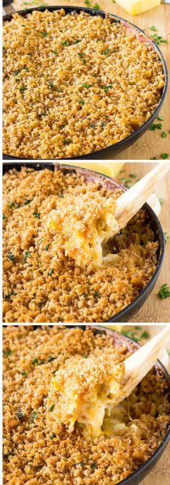 This One Skillet Three Cheese Baked Macaroni and Cheese is stuffed with delicious cheeses and topped with a crispy panko bread crust. It's all made in one skillet!