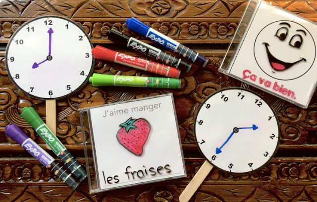 Sharing some fun ideas for dry erase French activities for the primary grades featuring EXPO Dry Erase Ink Indicator markers.  #EXPOTeacherWin #FSL #dryerase