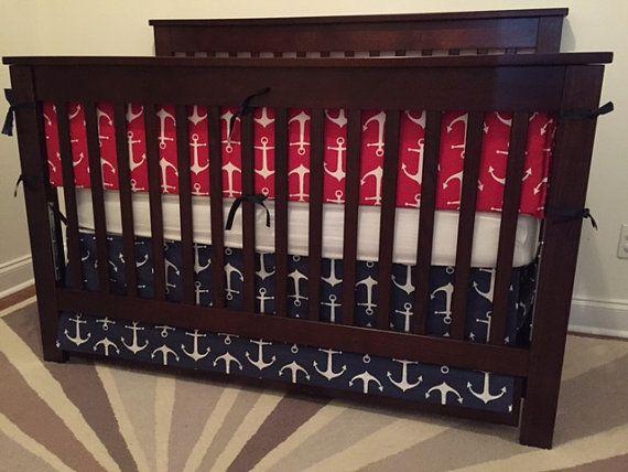 Nautical Crib bumper anchor crib bumper baby crib by BabyEtiquette https://www.etsy.com/listing/221388806/nautical-crib-bumper-anchor-crib-bumper?ref=shop_home_active_1