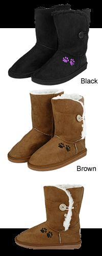 Purple Paw Microfiber Sherpa Lined Button Boots at The Animal Rescue Site