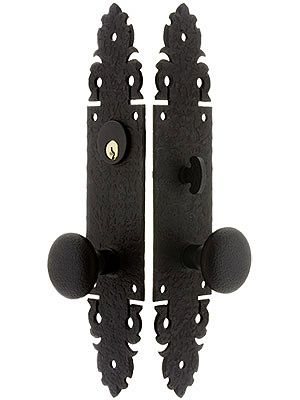 Warwick Long Plate Mortise Entry Set With Black Lacquer Finish Front Door