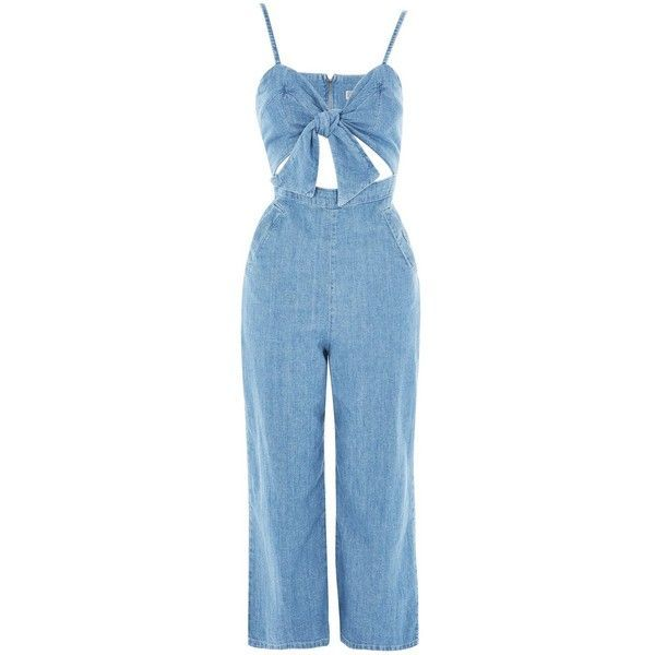 Topshop Moto Bow Front Denim Jumpsuit ($57) ❤ liked on Polyvore featuring jumpsuits, topshop, denim, dresses, jumpsuit, mid stone, blue jumpsuit, topshop jumpsuit, sweetheart neckline jumpsuit and jump suit