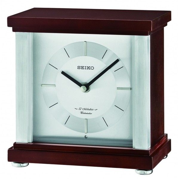 Seiko Clock - Rothesay Contemporary Desk & Table Clock QXW441BLH (560 ILS) ❤ liked on Polyvore featuring home, home decor, clocks, contemporary clocks, seiko watches, wood clock, chiming mantel clocks and contemporary home decor