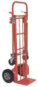 "Steel Convertible Hand Truck Dollies are versatile wonders that can work in both the vertical and horizontal positions. The task of transporting smaller crates or long narrow boxes is now simplified. These carts roll smoothly on 10"" x 3½"" rigid pneumatic and 4"" x 1"" swivel solid rubber casters. Ships knockdown. Hand Truck Specs: overall size 19-1/2""W x 19""D x 57-3/4""H ; nose plate 10 1/4""W x 7 1/2""D; capacity 3300lbs.Platform Truck Specs: overall size 19-1/2""W x 42""D x 37""H ; capacity…"