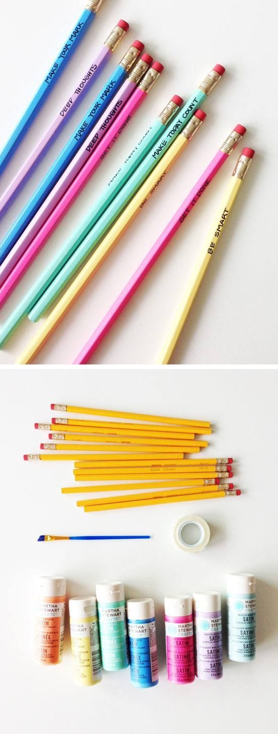 Painted Back-to-School Pencils | Click Pic for 18 DIY Back to School Crafts for Teens to Make | Easy Back to School Crafts for Kids to Make