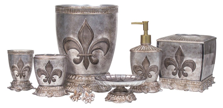 Details about french flair luxe fleur de lis bath for French bathroom accessories