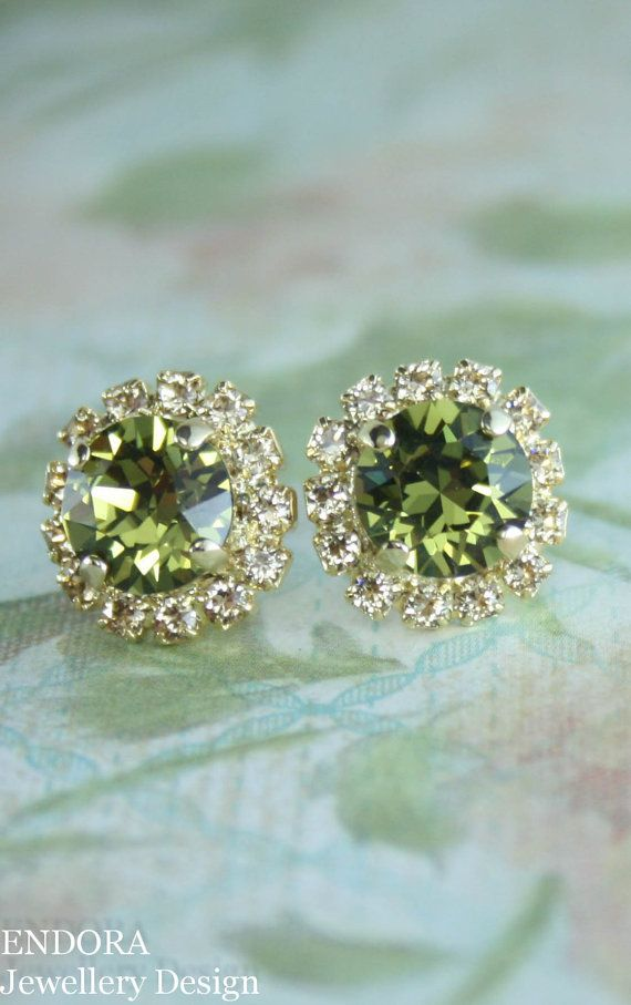 Khaki and champagne Swarovski crystal stud earrings | olive green wedding | khaki wedding | champagne wedding | green and gold | www.endorajewellery.etsy.com