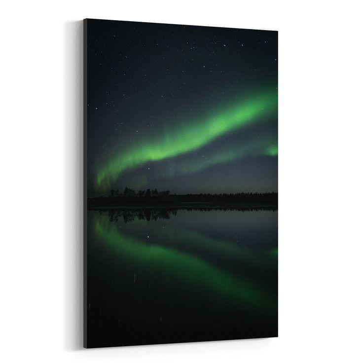 Noir Gallery Northern Lights Lapland Finland Canvas Wall Art Print (16 x 20), Blue