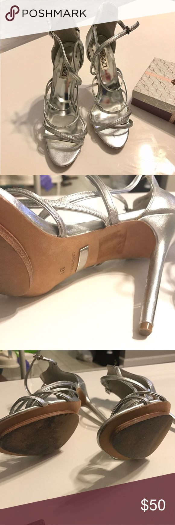 Badgley Mischka Silver Strappy Sandals Great heels for a wedding or special event. Strappy design. Leather sole. Badgley Mischka Shoes Sandals