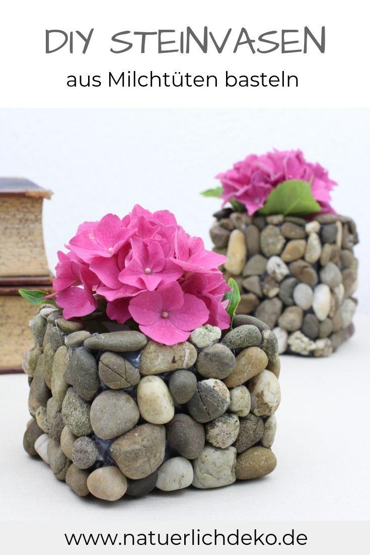 Milchtüten Upcycling: Vase mit Steinen basteln