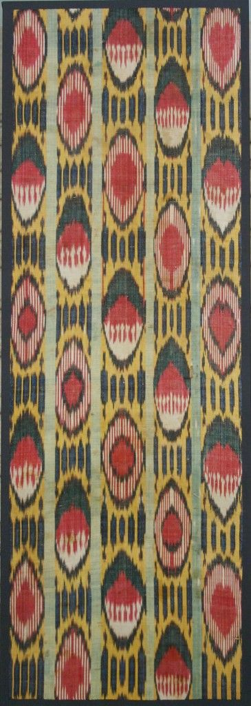 "Ikat (Uzbekistan) Section of Loom Length 52"" X 19"" 3rd quarter 19th century Silk Ikat Warp; White Cotton Weft; Warp Faced Plain Weave. Photo courtesy of Gail Martin Gallery"
