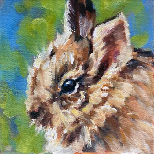 """Weekly Painting Project: Nuttall's Cottontail baby. """"Wee One"""" by Kindrie Grove. #art #painting #oilpainting #animals #wildlife #bunny #bunnies"""
