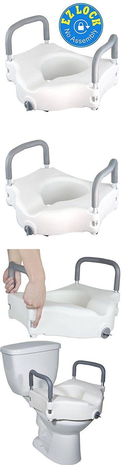 Toilet Seats: Elongated Handicap Toilet Seat White Raised Disabled Seniors Riser Handle Riser -> BUY IT NOW ONLY: $56.95 on eBay!