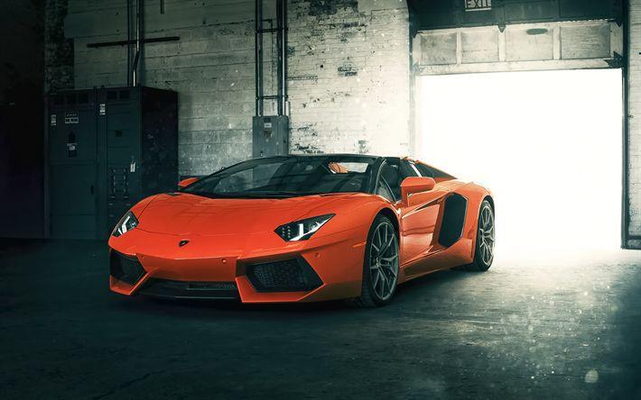 Download wallpapers Lamborghini Aventador, LP700-4, supercar, photoshoot, garage, Italian sports cars, Orange Aventador, Lamborghini