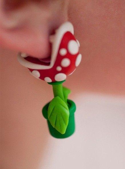 Noirlu | Super Mario Man-eater Flower Fimo Earrings from Picsity.com