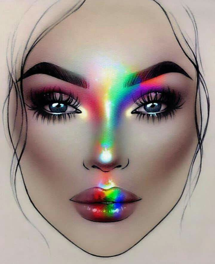 Rainbow Highlights Makeup Face Charts Makeup Charts Face Chart