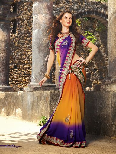 Majesty Deep Purple & Tango Orange Embroidered Saree | StylishKart.com