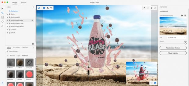 Mit Project Felix lassen sich 3D-Templates in 2D-Bilder einfügen und bearbeiten. (Bild: Adobe)