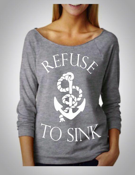 refuse to sink off shoulder shirt par FierceClothing1 sur Etsy
